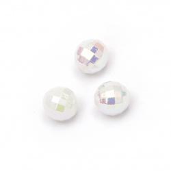 Мънисто плътно топче 8 мм дупка 2 мм фасетирано дъга цвят бял млечно -50 грама ~200 броя