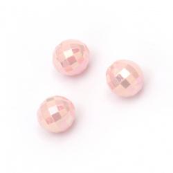 Мънисто плътно топче 8 мм дупка 2 мм фасетирано дъга цвят розов -50 грама ~200 броя