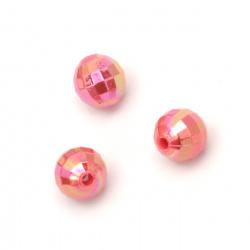 Мънисто плътно топче 8 мм дупка 2 мм фасетирано дъга цвят розов тъмен -50 грама ~200 броя