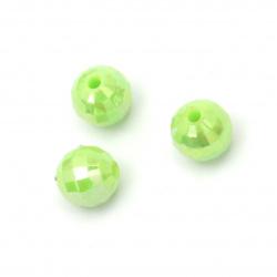 Мънисто плътно топче 8 мм дупка 2 мм фасетирано дъга цвят зелен -50 грама ~200 броя