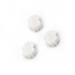 Мънисто плътно фигура 12x13.5x7 мм дупка 4 мм цвят бял -50 грама ~75 броя