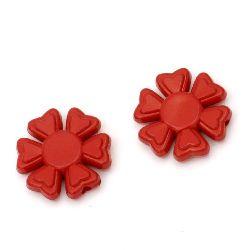 Margele solidă floare  20x5 mm gaură 2 mm roșu -50 grame ~ 33 bucăți