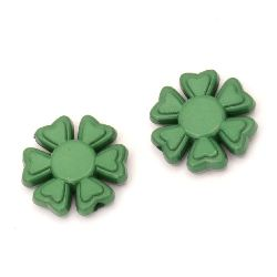 Мънисто плътно цвете 20x5 мм дупка 2 мм зелено -50 грама ~33 броя