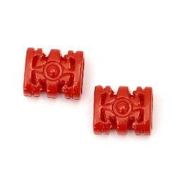 Margele solidă figură 16x14x8 mm gaură 5x10 mm roșu -50 grame ~ 65 bucăți