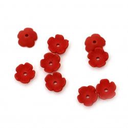 Мънисто плътно цвете шапка матирано 11x11x4 мм дупка 1 мм червено -20 грама ~ 112 броя