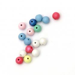 Мънисто плътно топче матирано 8 мм дупка 1 мм микс дъга -20 грама ~ 76 броя