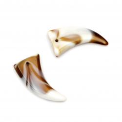 Висулка имитация рог/зъб 37x17x7 мм дупка 1.5 мм -20 грама ~ 9 броя