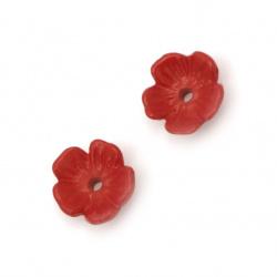 Мънисто плътно цвете шапка 11x11x4 мм дупка 1 мм цвят червен 20 грама ~112 броя