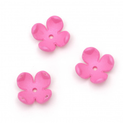 Beaded solid flower hat matte 14x6 mm hole 2 mm color pink RAINBOW -10 pieces