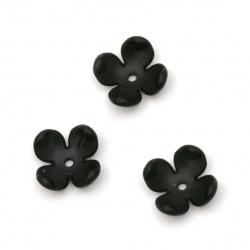 Мънисто плътно цвете шапка матирано 14x6 мм дупка 2 мм цвят черен -10 броя