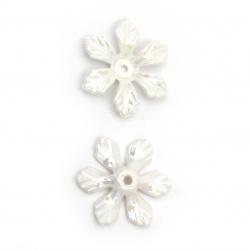 Мънисто плътно цвете 27x24x5 мм дупка 2 мм цвят бял ДЪГА -20 грама ~25 броя