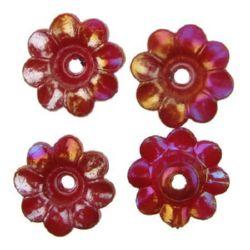 Floare solida 20x20x8 mm gaură 4 mm CURCUBEU roșu -50 grame ~ 69 bucăți