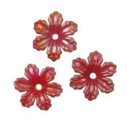 Floare solida CURCUBEU 30x30x9 mm gaură 3 mm roșu -50 grame ~ 35 bucăți