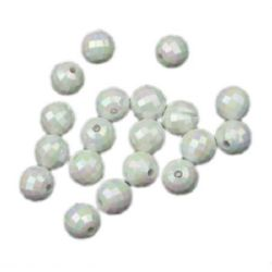 Margele solidă bila 8 mm gaură 1,5 mm fațetată alb CURCUBEU -50 grame ± 180 bucăți