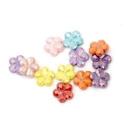 Margele solida  floare 15x4 mm gaură 1 mm curcubeu mix -50 grame ~ 90 bucăți