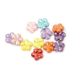Мънисто плътно цвете 15x4 мм дупка 1 мм дъга микс -50 грама ~ 90 броя