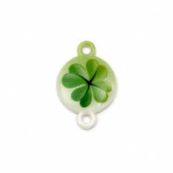 Acrylic Bead Connector, Round with Print - Four Leaf Clover 24x16x3 mm, hole 2 mm - 10 pieces