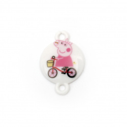 Acrylic Bead Connector, Round with Print - Piglet on a byke 24x16x3 mm, hole 2 mm - 10 pieces