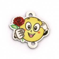 Printed Acrylic Bead Connector, Emoticon with a rose 22x23x2 mm, hole 2 mm - 10 pieces
