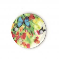 Cerc element de conectare cu flori și fluture 20x20x2 mm gaură 2 mm -10 bucăți
