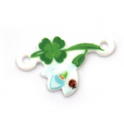 Acrylic connecting element snowdrop with clover and ladybug 26x16x2 mm hole 2 mm - 10 pieces