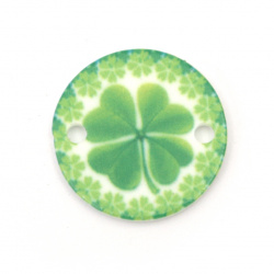 Acrylic Bead Connector, Round with Four leaf Clover Print 20x20x2 mm, hole 2 mm - 10 pieces