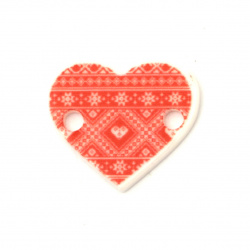 Acrylic connector - heart with embroidery motif 17x15x1.5 mm hole 2 mm - 10 pieces