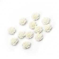 Мънисто резин тип кабошон роза 6x3 мм цвят бял -20 броя