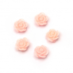 Мънисто резин тип кабошон роза 6x3 мм цвят розов -20 броя