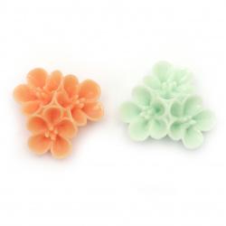 Мънисто резин тип кабошон цвете 32x15 мм МИКС -2 броя
