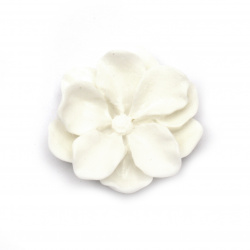 Мънисто резин тип кабошон цвете 25x9 мм цвят бял -5 броя