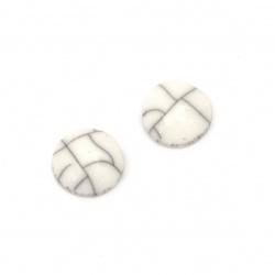 Мънисто резин тип кабошон имитация тюркоаз кръг 10x4 мм цвят бял -10 броя