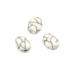 Мънисто резин тип кабошон имитация тюркоаз елипса 8x6x3 мм цвят бял -10 броя