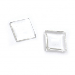 Bead for gluing glass type cabochon square 20x20x6 mm transparent -5 pieces