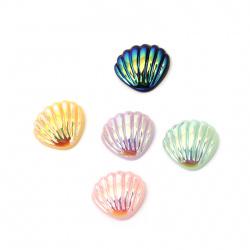 Мънисто резин тип кабошон мида 21x19 мм ДЪГА АСОРТЕ цветове -10 броя