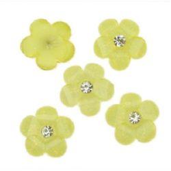 Margele pentru lipire tip cabochon 12 mm floare pietricică galben -10 bucăți