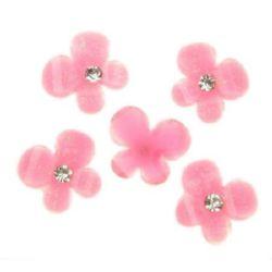 Мънисто за лепене тип кабошон 12 мм пеперуда камъче розова -10 броя