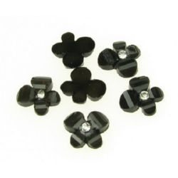 Dense butterfly with crystal pebble, bead for gluing cabochon type 12 mm black - 10 pieces