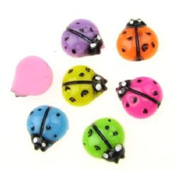 Colorful ladybug bead for gluing cabochon 12 mm - 10 pieces