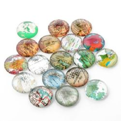 Beads cabochon type for gluing 12 x 4 mm MIX