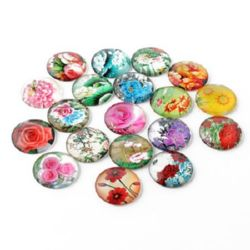 Cabochon Beads for glas, Half Round for Gluing, DIY, Clothes, Jewelleryhemisphere 20x6 mm ASSORTED -5 pieces