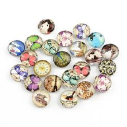 Cabochon Beads for glas, Half Round for Gluing, DIY, Clothes, Jewelleryhemisphere 10x4 mm ASSORTE -10 pieces
