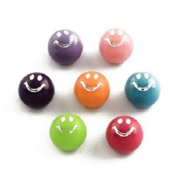 Beads for gluing cabochon type smile 12 x 10 mm MIX