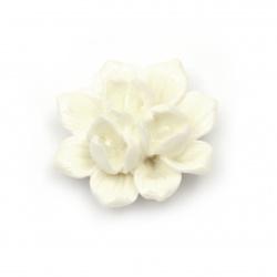 Мънисто резин тип кабошон цвете 39x17 мм цвят бял -2 броя