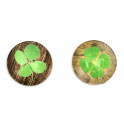 Cabochon Beads for glas, Half Round for Gluing, DIY, Clothes, Jewellery  hemisphere 22x6 mm clover -5 pieces