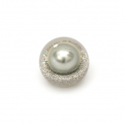 Transparent built-in bead cabochon type 18x16 mm hole 3 mm with glitter and pearl color gray
