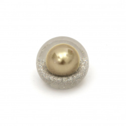 Brilliant built-in bead cabochon type 18x16 mm hole 3 mm transparent with glitter and pearl color bronze