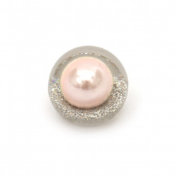 Built-in bead type cabochon 18x16 mm hole 3 mm transparent with glitter and pearl pink