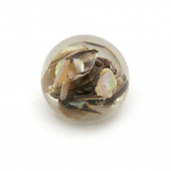 Cabochon gluing bead 20x17 mm transparent mother-of-pearl