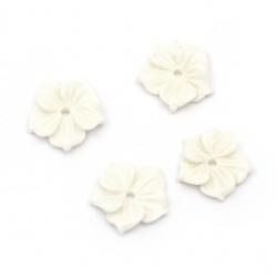 Мънисто резин тип кабошон цвете 15x4 мм цвят бял -10 броя